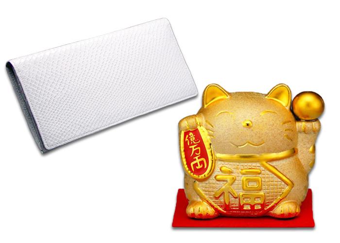 金運UP!白蛇長財布+金運招き猫貯金箱セット