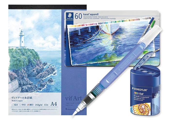 大人のスケッチセット(水彩色鉛筆60色・水筆・鉛筆削り・スケッチブック)