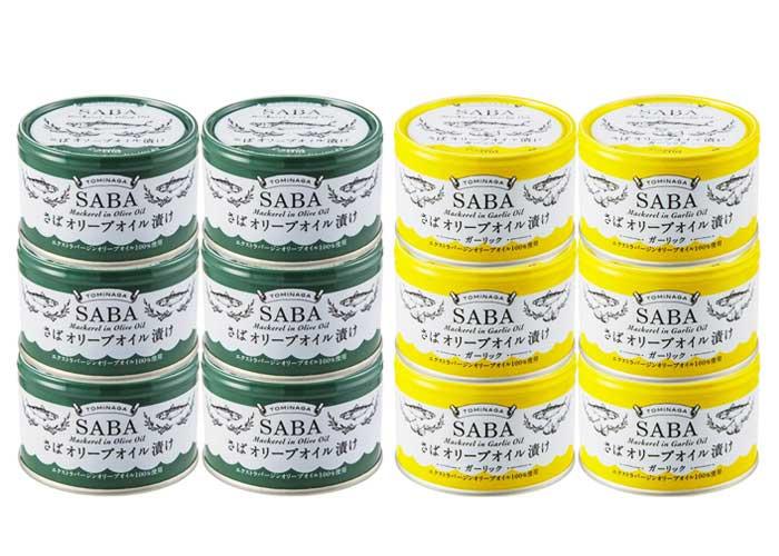 TOMINAGA SABA オリーブオイル漬け ノーマル/ガーリック 缶詰 150g×計12個