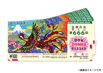 1等・前後賞あわせて3億円のチャンス! 宝くじの日記念くじ 500枚