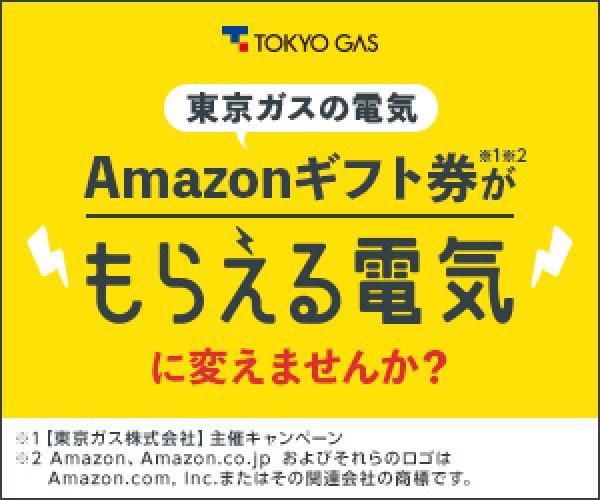 東京ガスの新電力サービス!Amazonギフト券【もらえる電気】